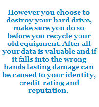 Safe and Secure Computer Recycling and Data Destruction