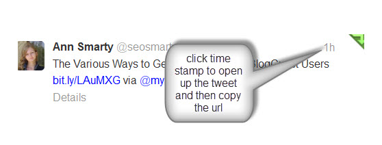 to open up a tweet click the time stamp