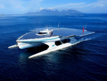 fantastic solar powered catamaran absorbing solar energy to travel the seas without emissions