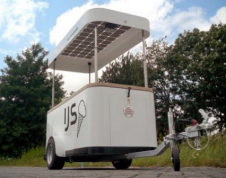 this ice cream cart is powered entirely by solar panels
