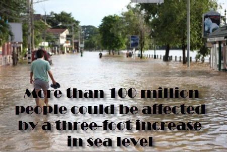 more than 100 million people will be affected by rising sea levels